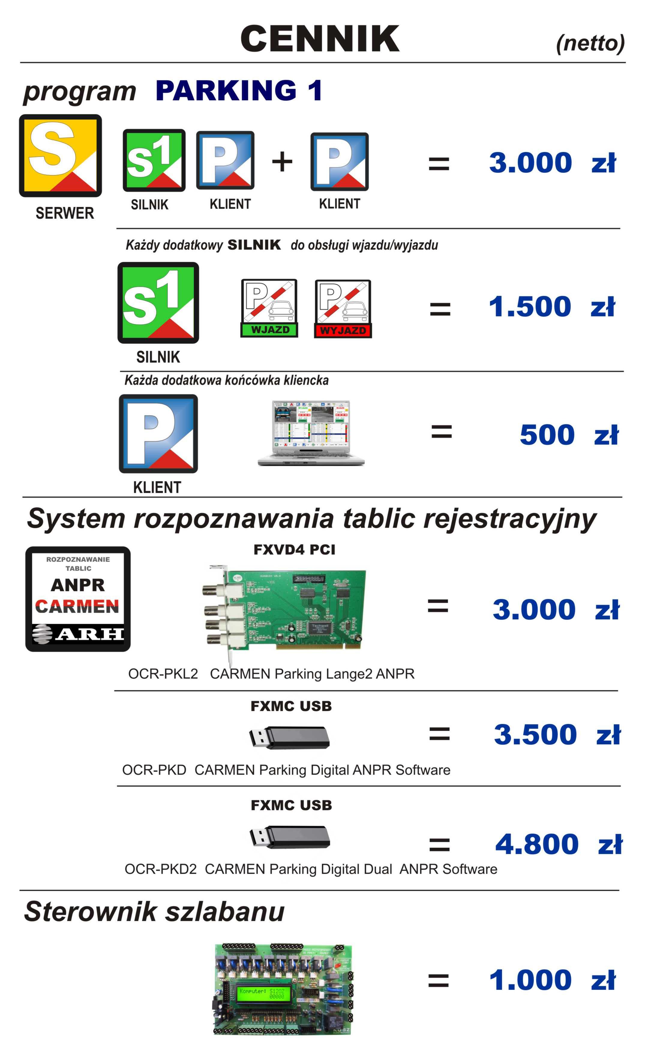 ELEMENTY SYSTEMU NA 2 SZLABANY   NEV